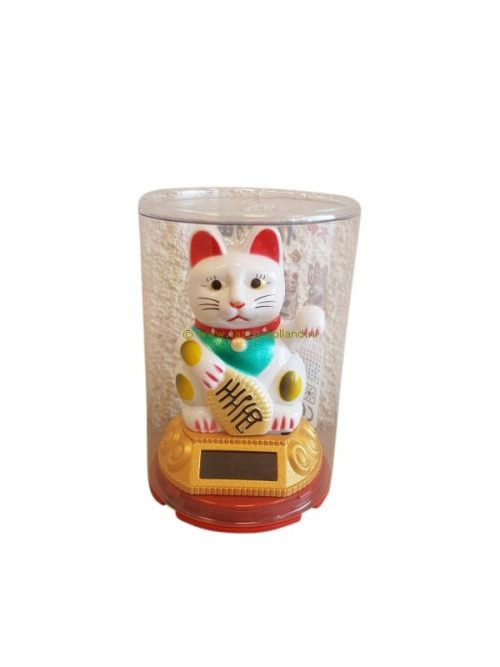 Lucky cat solar white 9x5 cm