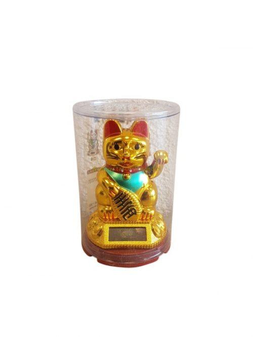 Lucky cat solar gold 9x5 cm