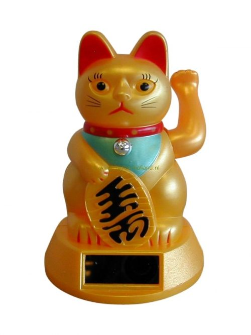 Lucky cat solar gold 11x8cm