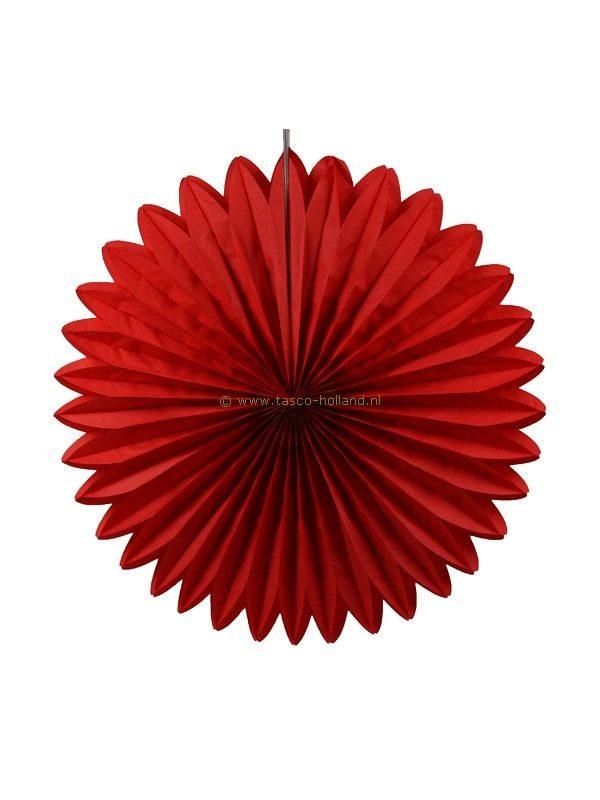 Decoratie bol papier 60x60x8 cm rood