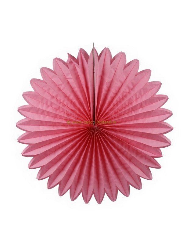 Decoratie bol papier 60x60x8 cm roze
