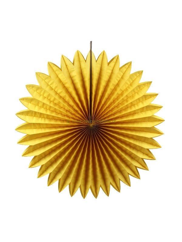 Decoratie bol papier 60x60x8 cm geel