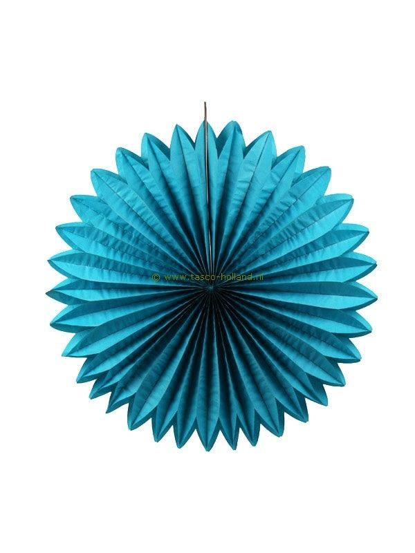 Decoratie bol papier 60x60x8 cm turquoise