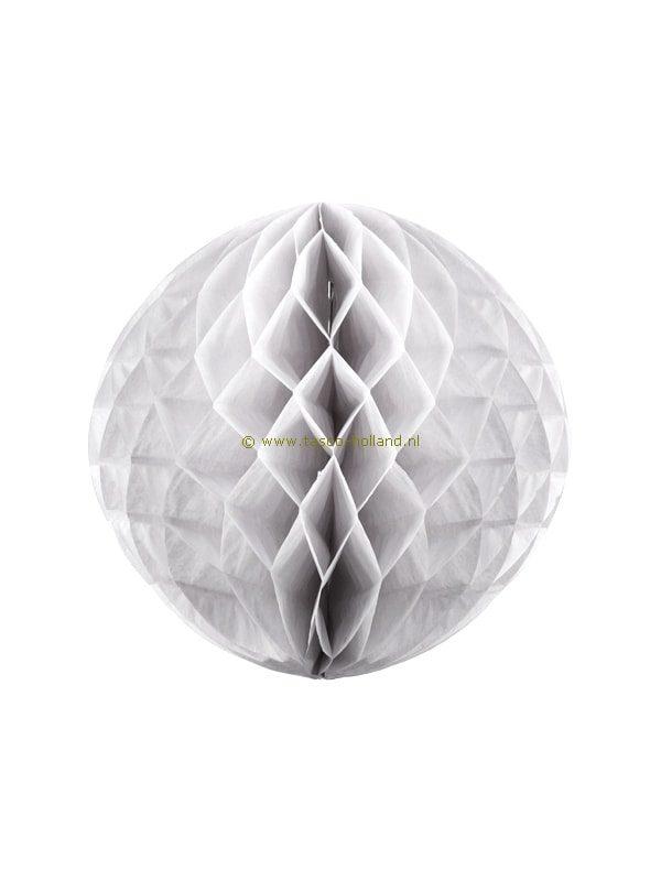 Decoratie bol (honeycomb) papier 32 cm wit