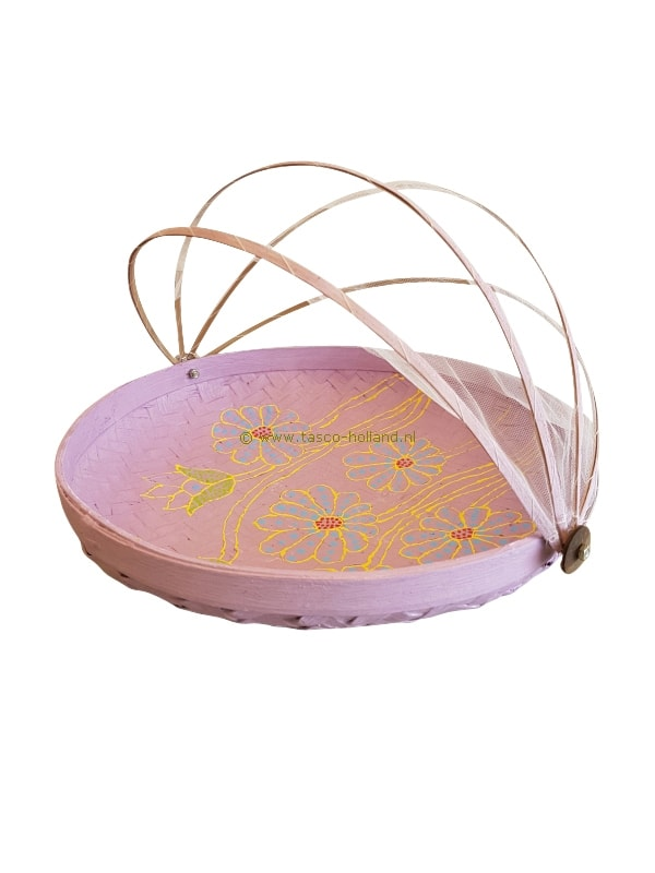 Bowl bamboo with fly-net 34x34x10 cm lila