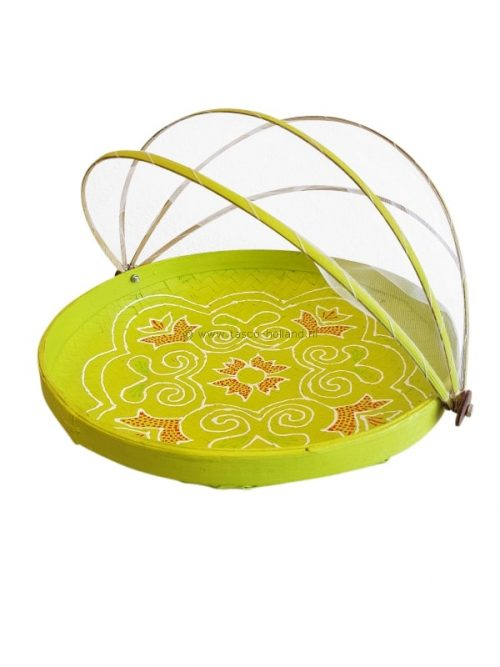 Bowl bamboo with fly-net 34x34x10 cm lime-green