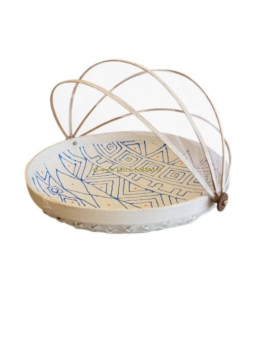 Bowl bamboo with fly-net 34x34x10 cm white