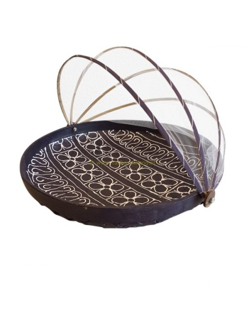 Bowl bamboo with fly-net 34x34x10 cm purple