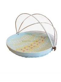 Bowl bamboo with fly-net 34x34x10 cm turquoise