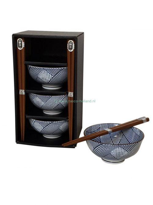 Tokusa cross bowl 11,8x5,5cm with chopsticks set/4