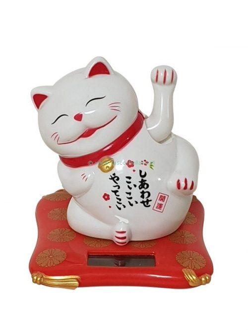 Lucky cat solar white 6x6.5x7.5cm