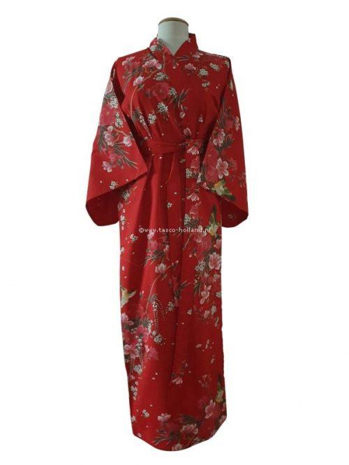 """Kimono katoen 55"""" flower (541) rood"""