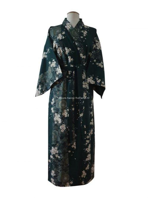 """Kimono katoen 55"""" cherry blossoms (561) groen"""