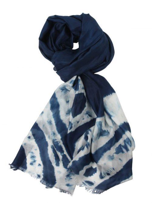 Sjaal blauw 180x80cm 100% zijde
