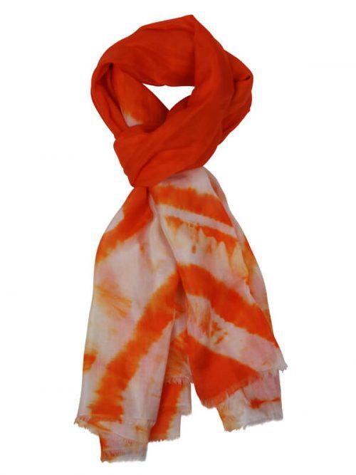Sjaal oranje 180x80cm 100% zijde