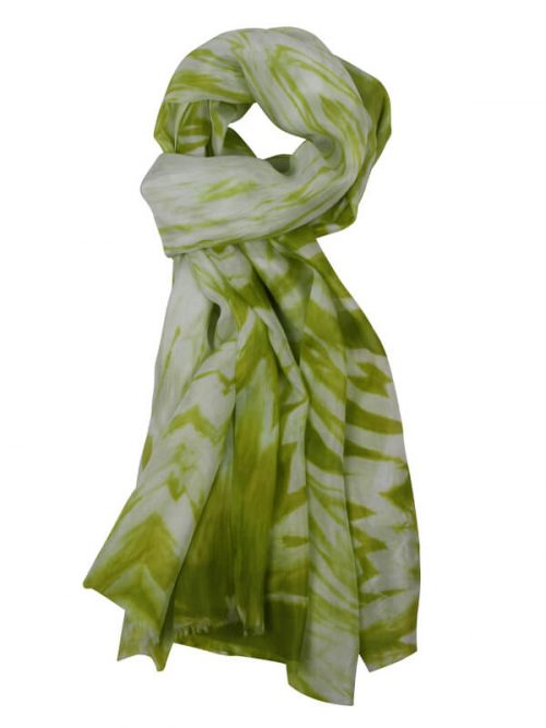 Sjaal limoengroen 180x80cm 100% zijde