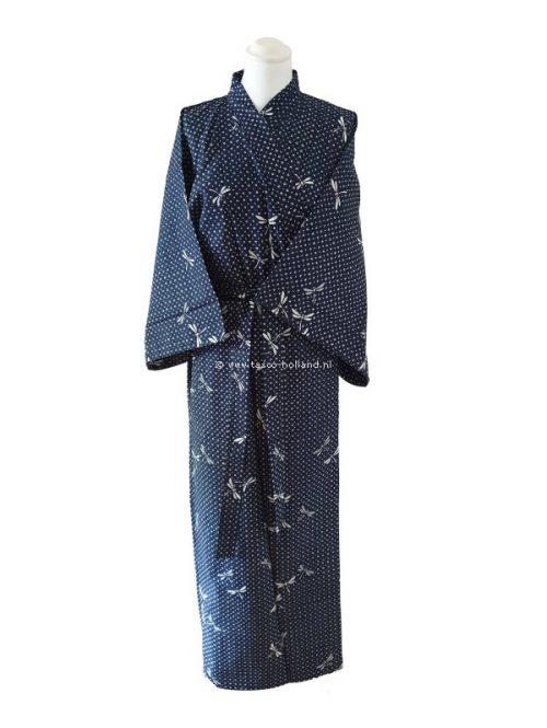 "Yukata katoen 56"" dragonfly (539) navy blauw"