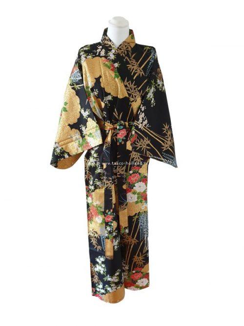 "Kimono katoen 55"" flower (580) zwart"
