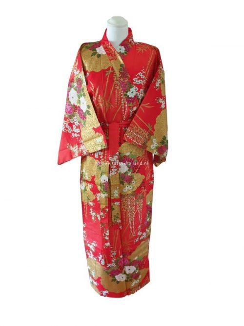 """Kimono katoen 55"""" flower (580) rood"""