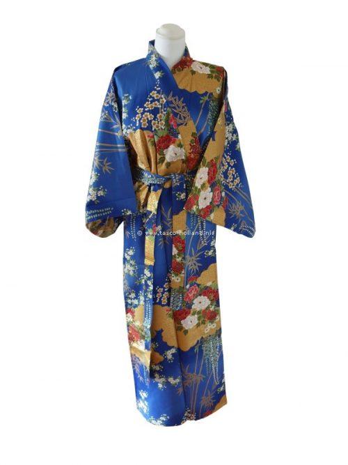 """Kimono katoen 55"""" flower (580) royal blauw"""