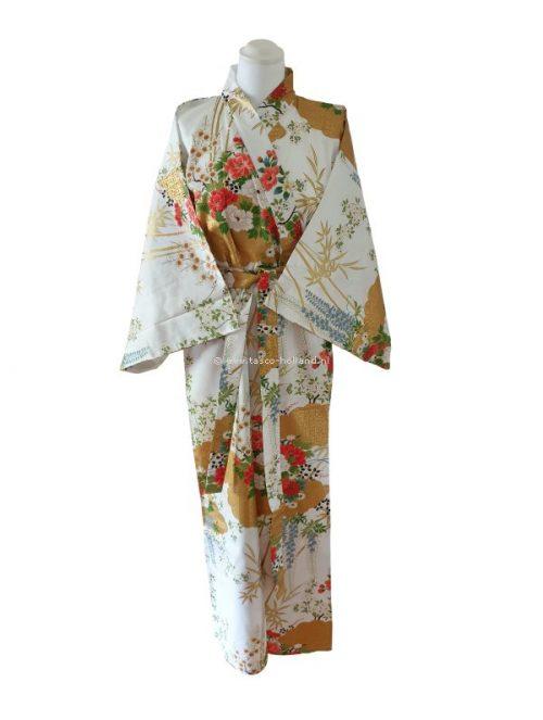 "Kimono katoen 55"" flower (580) wit"