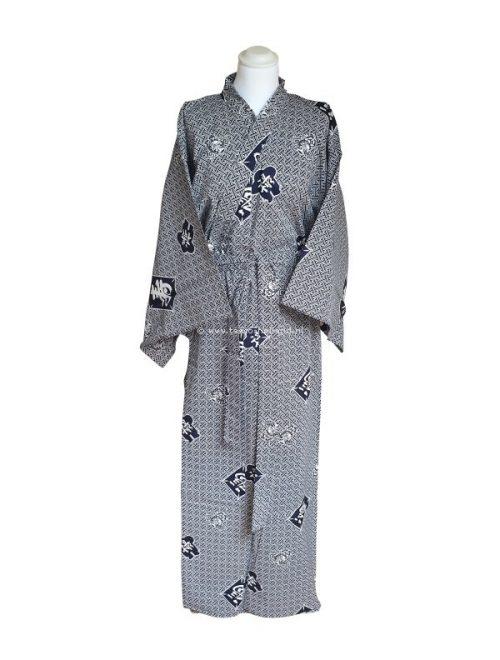 """Yukata katoen 59"""" kite&kotobuki (514) wit/blauw"""