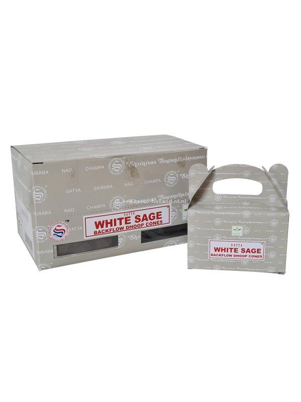 Backflow wierookpuntjes Satya White Sage pak van 6 doosjes