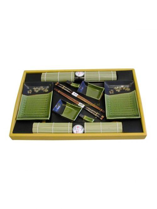 set/10 Sushi set groen 46x30x4 cm