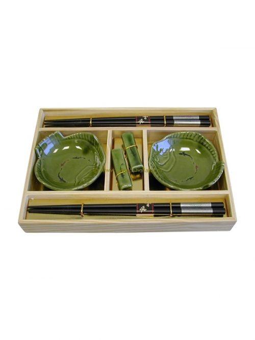 set/6 Sushi set groen 25x18x3,5 cm