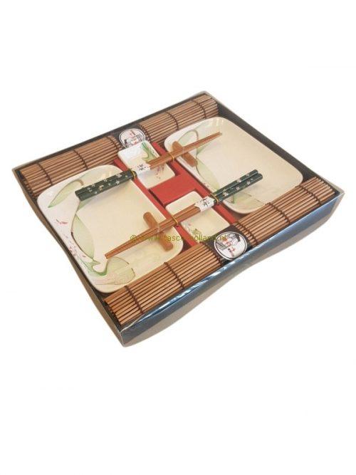 set/10 Sushi set wit/groen 31x27x3,5 cm