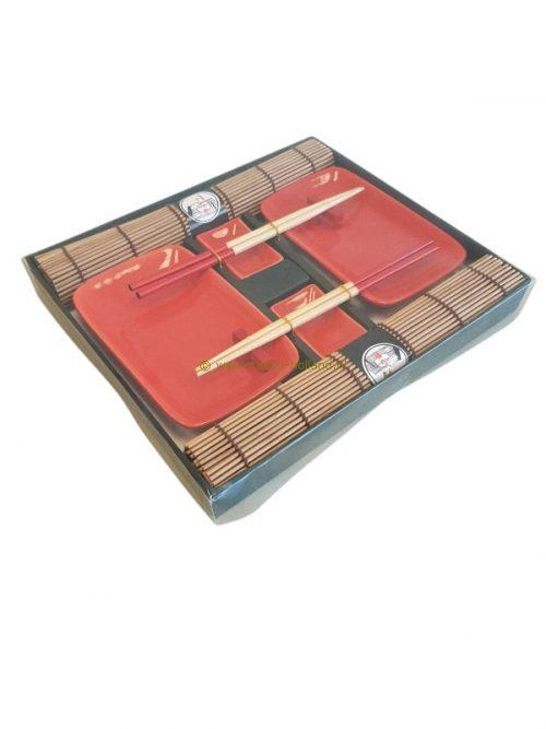 set/10 Sushi set rood 31x27x3,5 cm