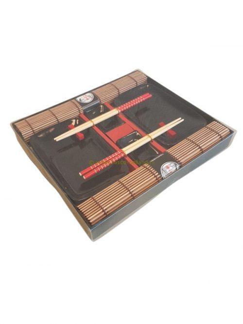 set/10 Sushi set zwart 31x27x3,5 cm