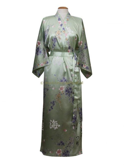 Kimono bloem polyester (080) groen