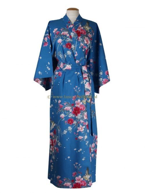 Kimono bloemen katoen (541) royal blauw