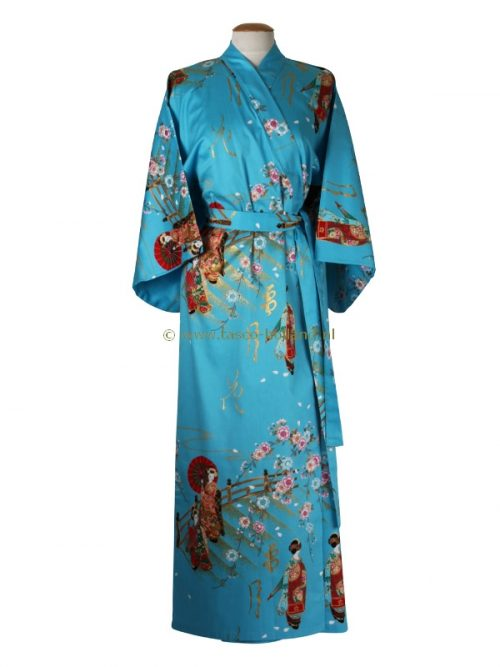 Kimono maiko katoen (560) blauw