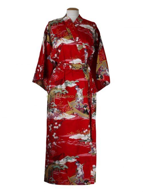 Kimono ukiyoe katoen (593) rood