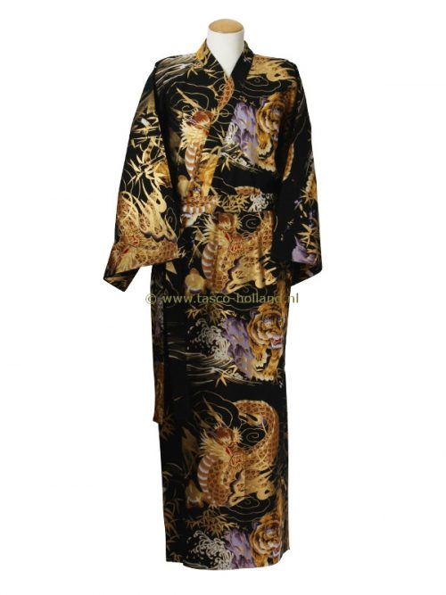 Kimono draak+tijger katoen (598) zwart