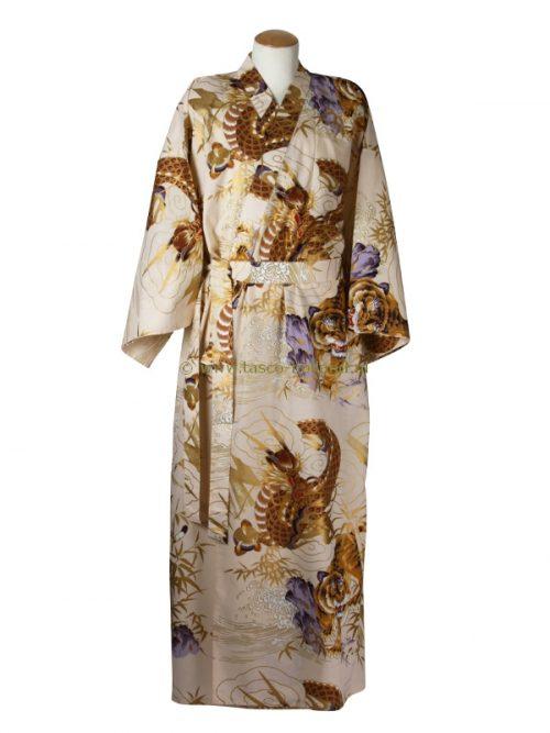 Kimono draak+tijger katoen (598) beige